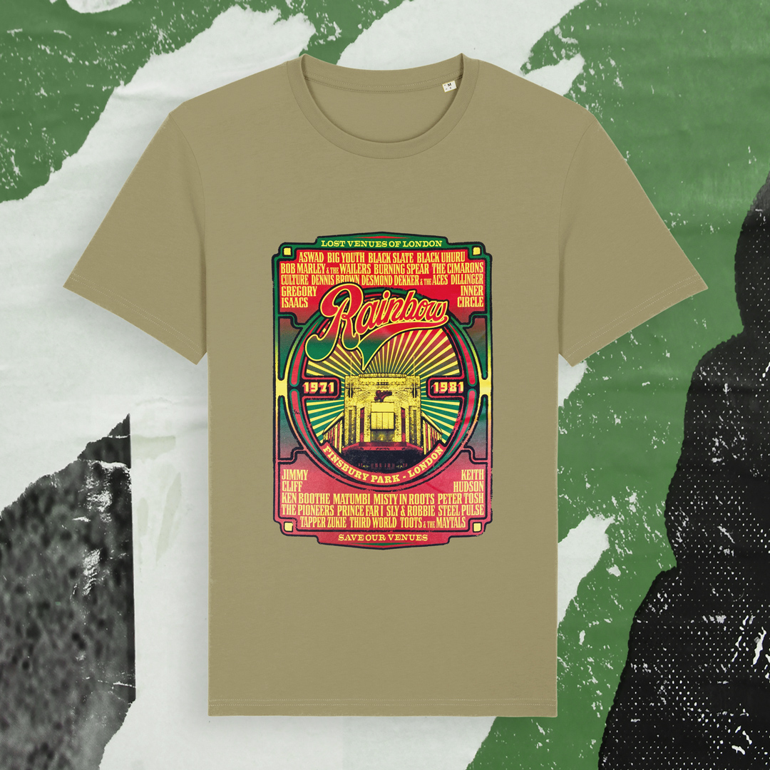 Reggae t-shirt design with legendary reggae acts that have played at the Rainbow venue in London