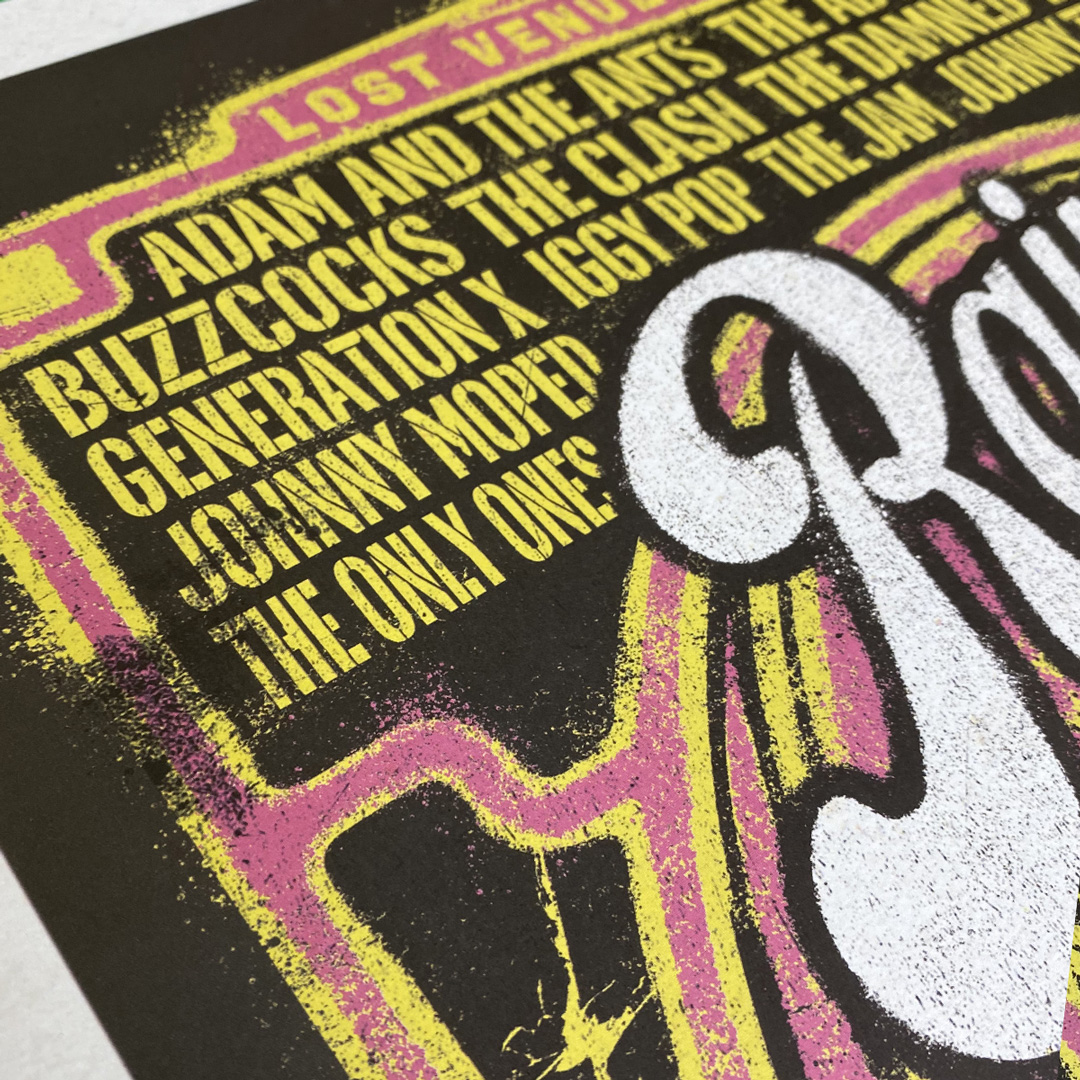 Close up of 'Rainbow Punk', a limited edition punk poster print
