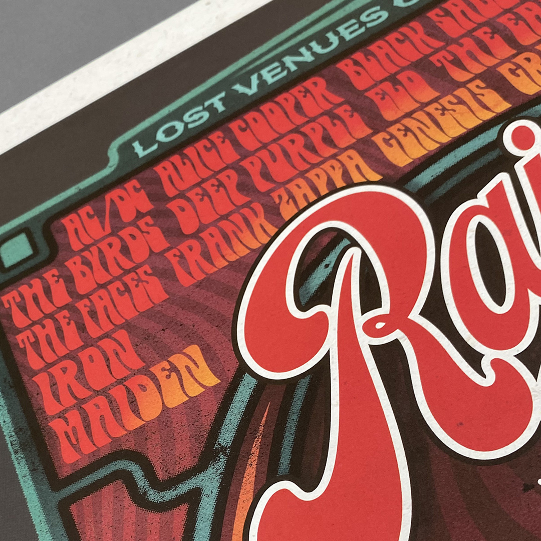 Close up of 'Rainbow Rock', a limited edition rock poster print