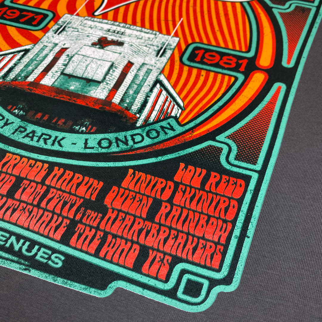 Close up of 'Rainbow Rock', a limited edition rock t-shirt