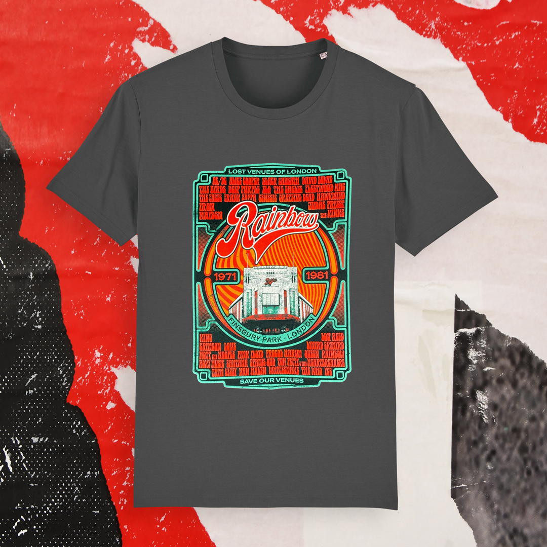 Rock t-shirt design with legendary reggae acts that have played at the Rainbow venue in London
