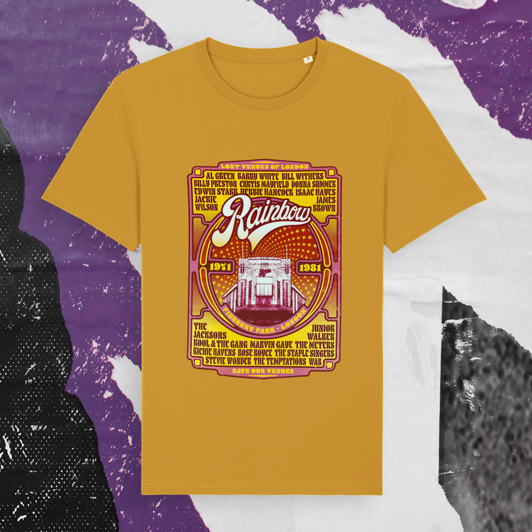 Soul t-shirt design with legendary reggae acts that have played at the Rainbow venue in London