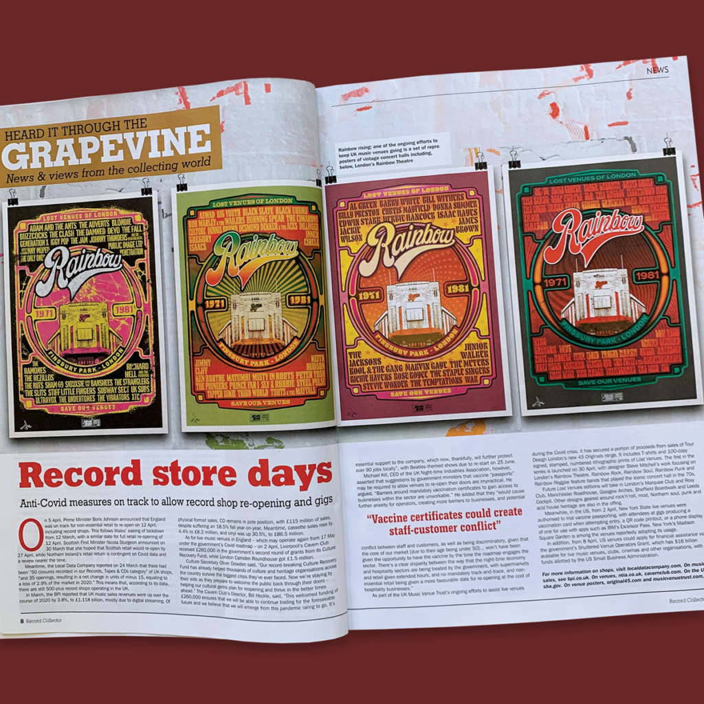 Doublepage spread about 45 Originals in Record Collector magazine