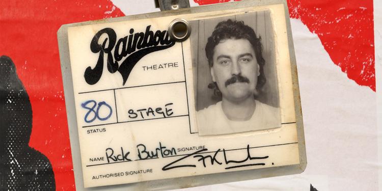 Vintage Rainbow Theatre stage pass for Rick Burton